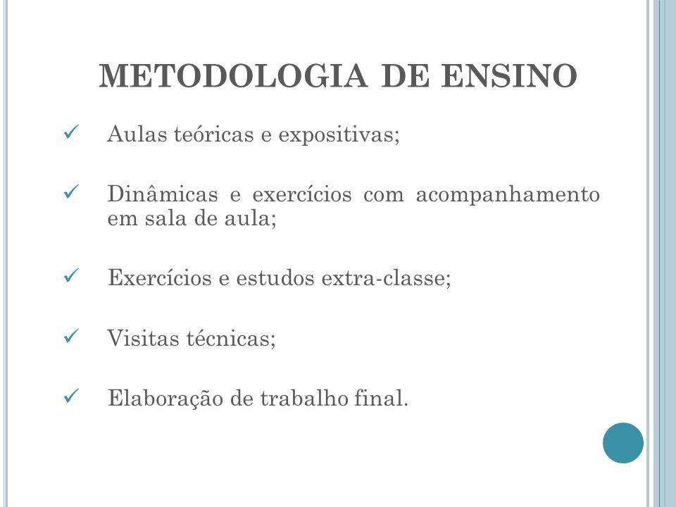 METODOLOGIA DE ENSINO Aulas teóricas e expositivas; Dinâmicas e exercícios com acompanhamento em sala de aula; Exercícios e estudos extra-classe; Visi