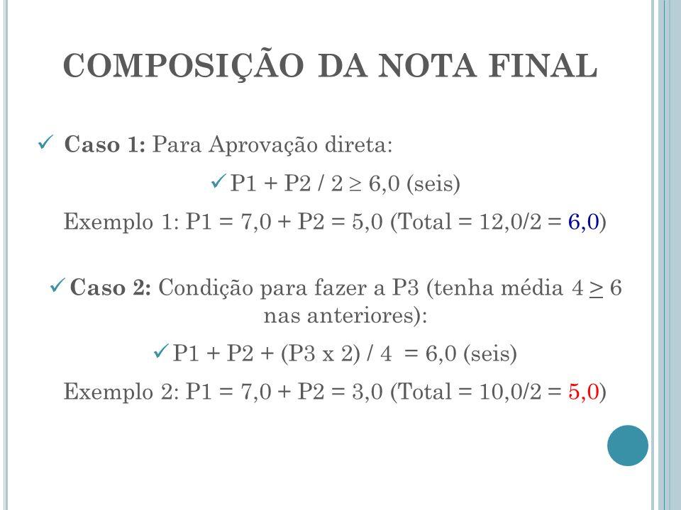 COMPOSIÇÃO DA NOTA FINAL Caso 1: Para Aprovação direta: P1 + P2 / 2 6,0 (seis) Exemplo 1: P1 = 7,0 + P2 = 5,0 (Total = 12,0/2 = 6,0) Caso 2: Condição