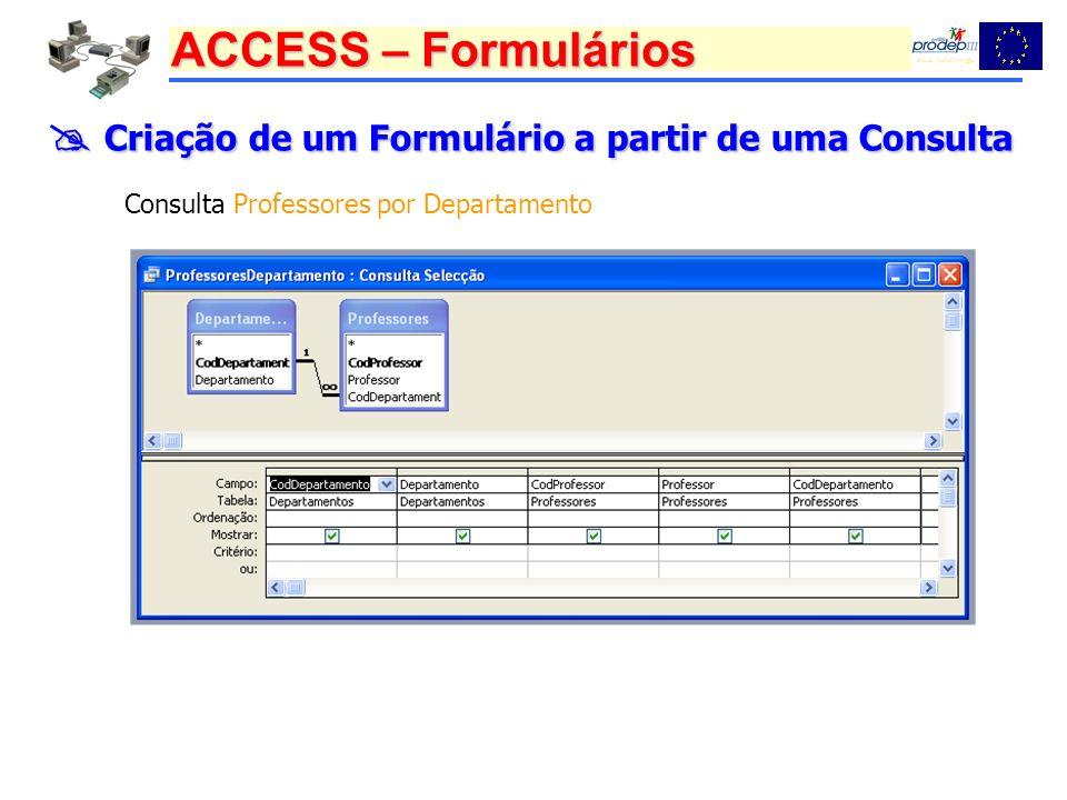 ACCESS – Formulários Criação de um Formulário a partir de uma Consulta Criação de um Formulário a partir de uma Consulta Consulta Professores por Depa