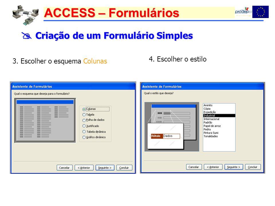 ACCESS – Formulários Criação de um Formulário Simples Criação de um Formulário Simples 3. Escolher o esquema Colunas 4. Escolher o estilo