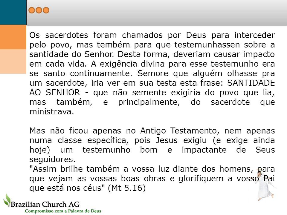 Os sacerdotes foram chamados por Deus para interceder pelo povo, mas tembém para que testemunhassen sobre a santidade do Senhor. Desta forma, deveriam
