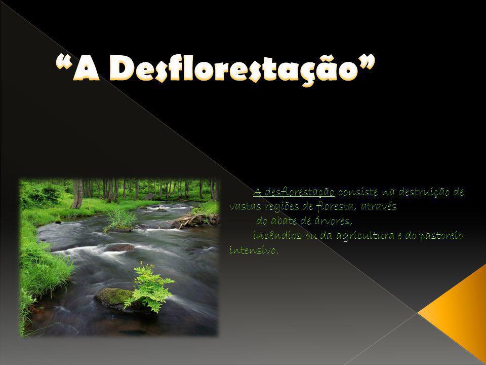 A desflorestação consiste na destruição de vastas regiões de floresta, através do abate de árvores, incêndios ou da agricultura e do pastoreio intensi