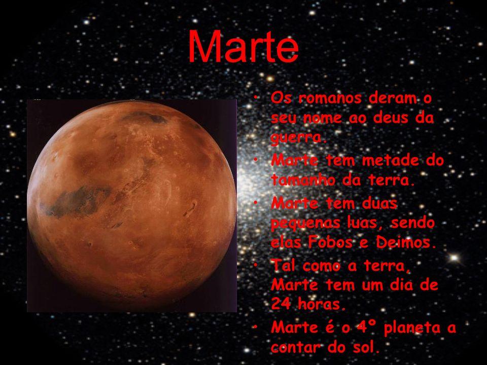 Marte Os romanos deram o seu nome ao deus da guerra. Marte tem metade do tamanho da terra. Marte tem duas pequenas luas, sendo elas Fobos e Deimos. Ta