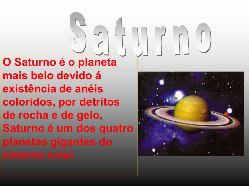 O Saturno é o planeta mais belo devido á existência de anéis coloridos, por detritos de rocha e de gelo, Saturno é um dos quatro planetas gigantes do