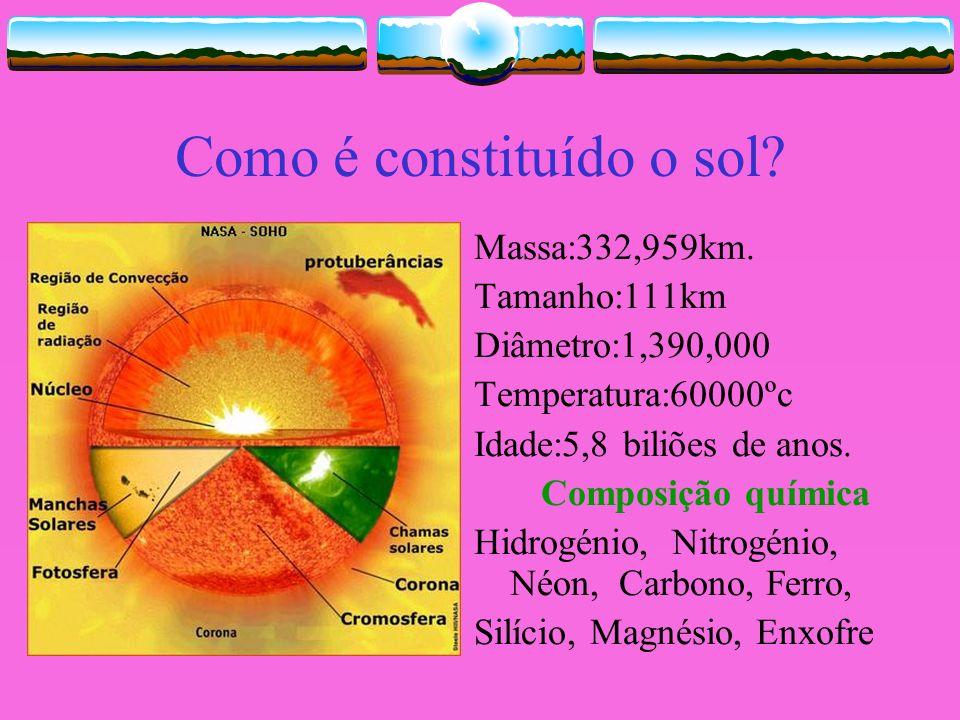 Como é constituído o sol? Massa:332,959km. Tamanho:111km Diâmetro:1,390,000 Temperatura:60000ºc Idade:5,8 biliões de anos. Composição química Hidrogén