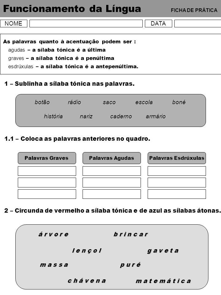 Funcionamento da Língua FICHA DE PRÁTICA NOMEDATA As palavras quanto à acentuação podem ser : agudas – a sílaba tónica é a última graves – a sílaba tó
