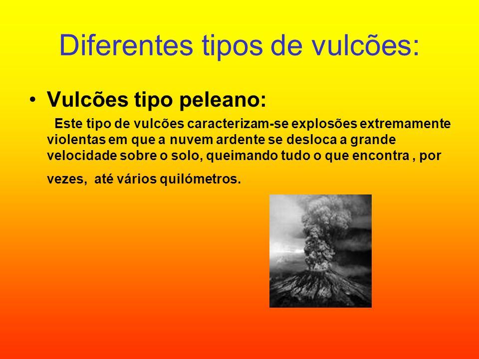 Diferentes tipos de vulcões: Vulcões tipo peleano: Este tipo de vulcões caracterizam-se explosões extremamente violentas em que a nuvem ardente se des