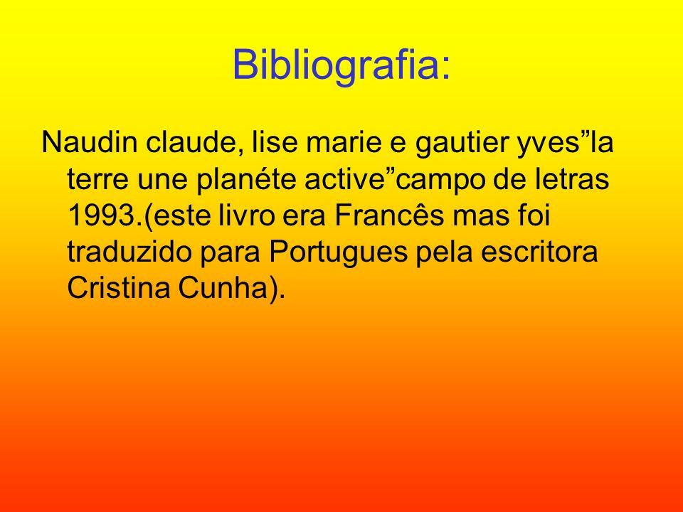 Bibliografia: Naudin claude, lise marie e gautier yvesla terre une planéte activecampo de letras 1993.(este livro era Francês mas foi traduzido para P
