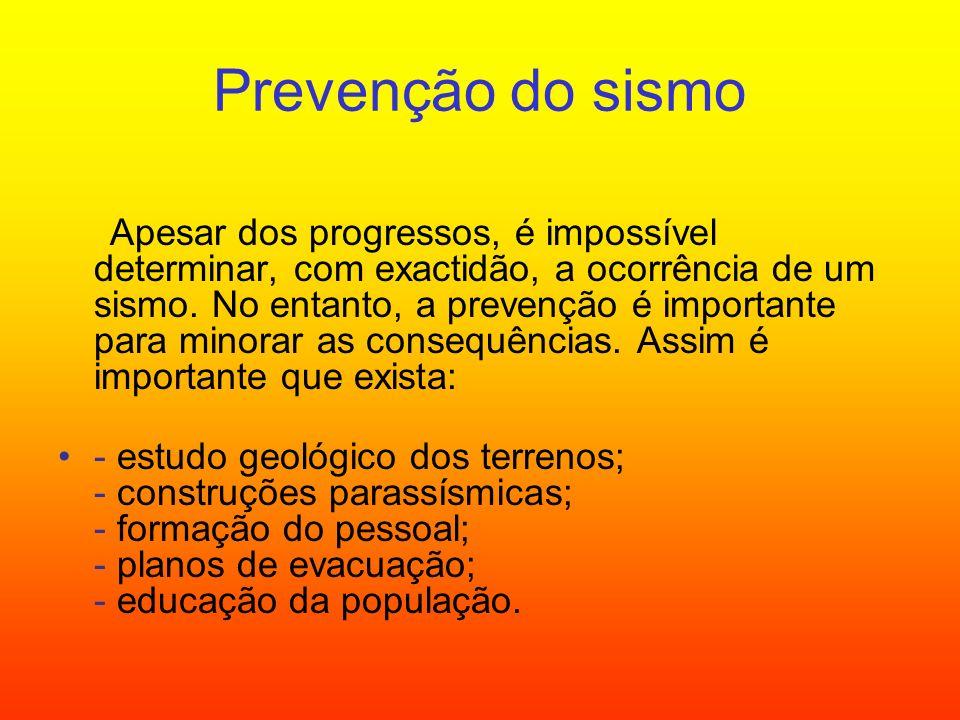 Prevenção do sismo Apesar dos progressos, é impossível determinar, com exactidão, a ocorrência de um sismo. No entanto, a prevenção é importante para