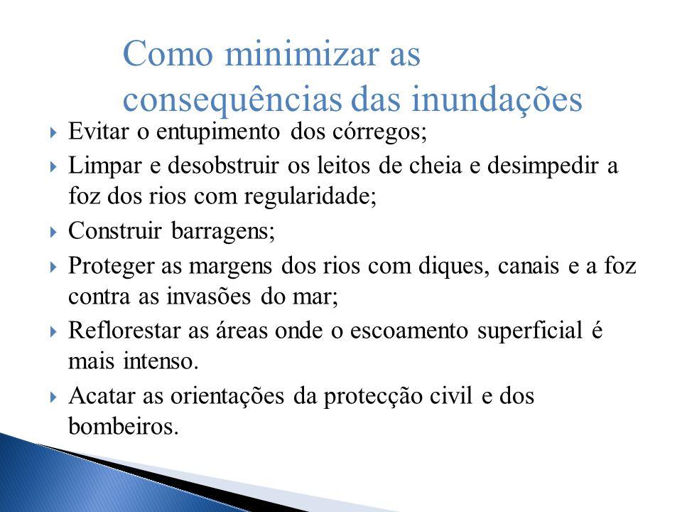 Evitar o entupimento dos córregos; Limpar e desobstruir os leitos de cheia e desimpedir a foz dos rios com regularidade; Construir barragens; Proteger