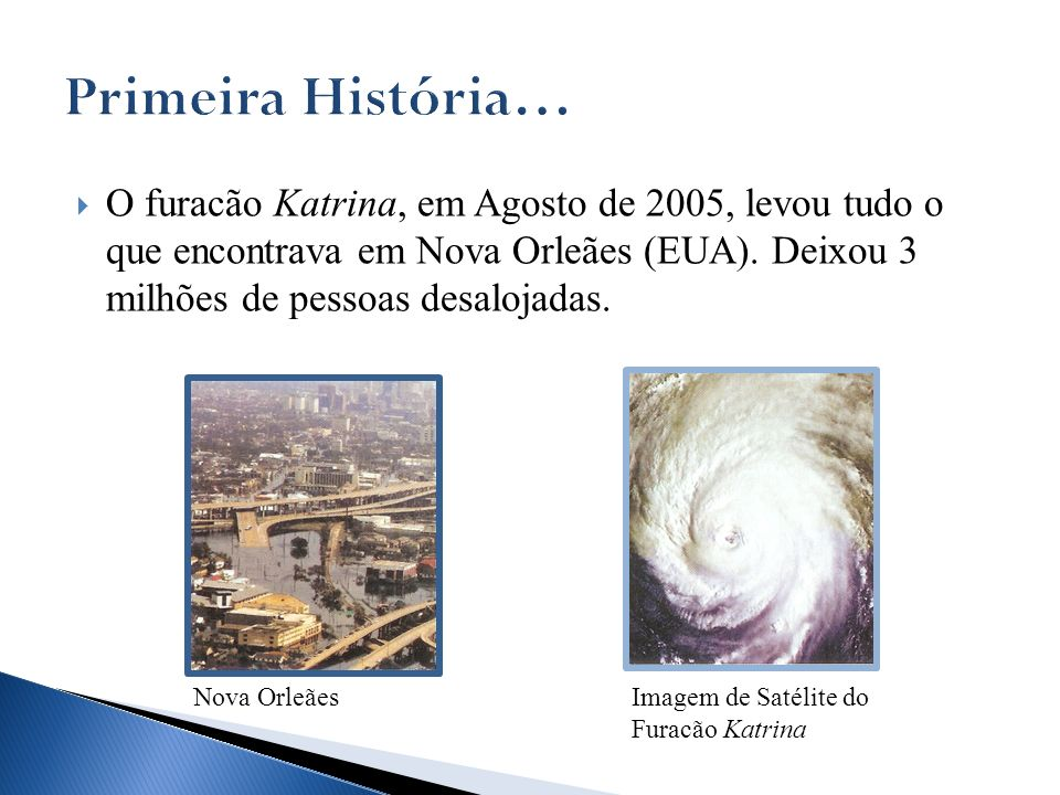 O furacão Katrina, em Agosto de 2005, levou tudo o que encontrava em Nova Orleães (EUA). Deixou 3 milhões de pessoas desalojadas. Imagem de Satélite d