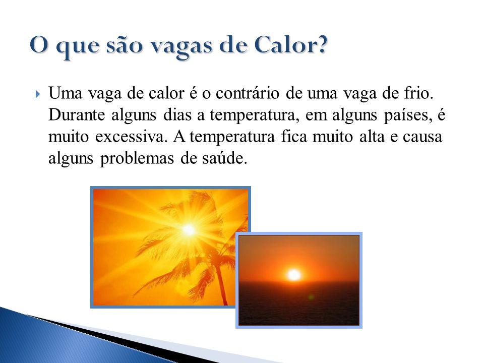 Uma vaga de calor é o contrário de uma vaga de frio. Durante alguns dias a temperatura, em alguns países, é muito excessiva. A temperatura fica muito