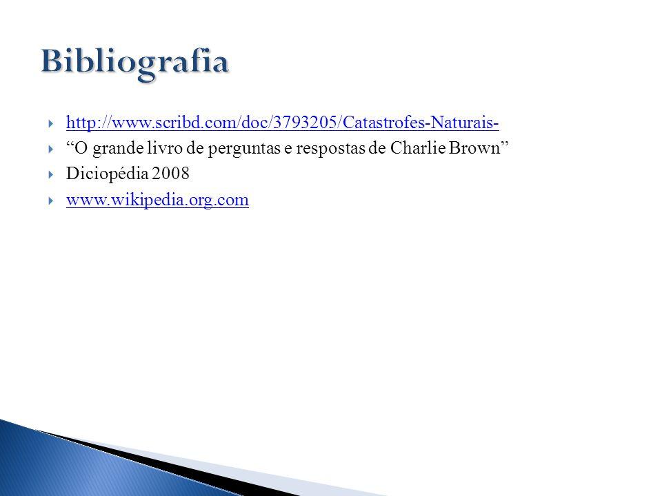 http://www.scribd.com/doc/3793205/Catastrofes-Naturais- O grande livro de perguntas e respostas de Charlie Brown Diciopédia 2008 www.wikipedia.org.com