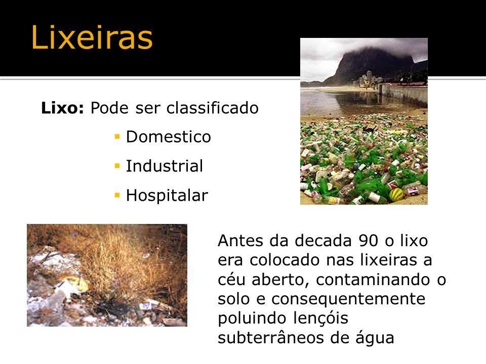 Lixo: Pode ser classificado Domestico Industrial Hospitalar Antes da decada 90 o lixo era colocado nas lixeiras a céu aberto, contaminando o solo e co