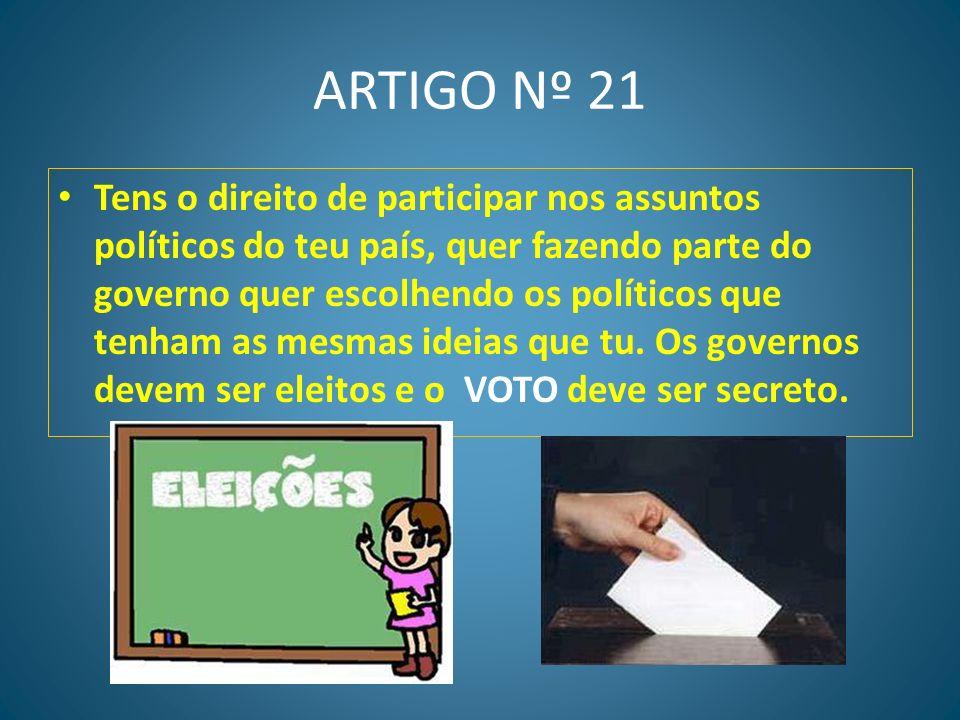 ARTIGO Nº 20 Tens o direito de organizar reuniões pacíficas ou de participar em reuniões com fins pacíficos.