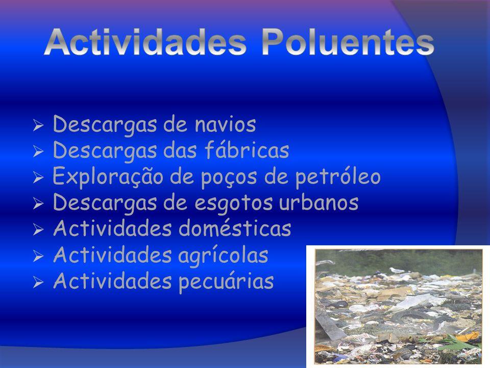 Descargas de navios Descargas das fábricas Exploração de poços de petróleo Descargas de esgotos urbanos Actividades domésticas Actividades agrícolas A