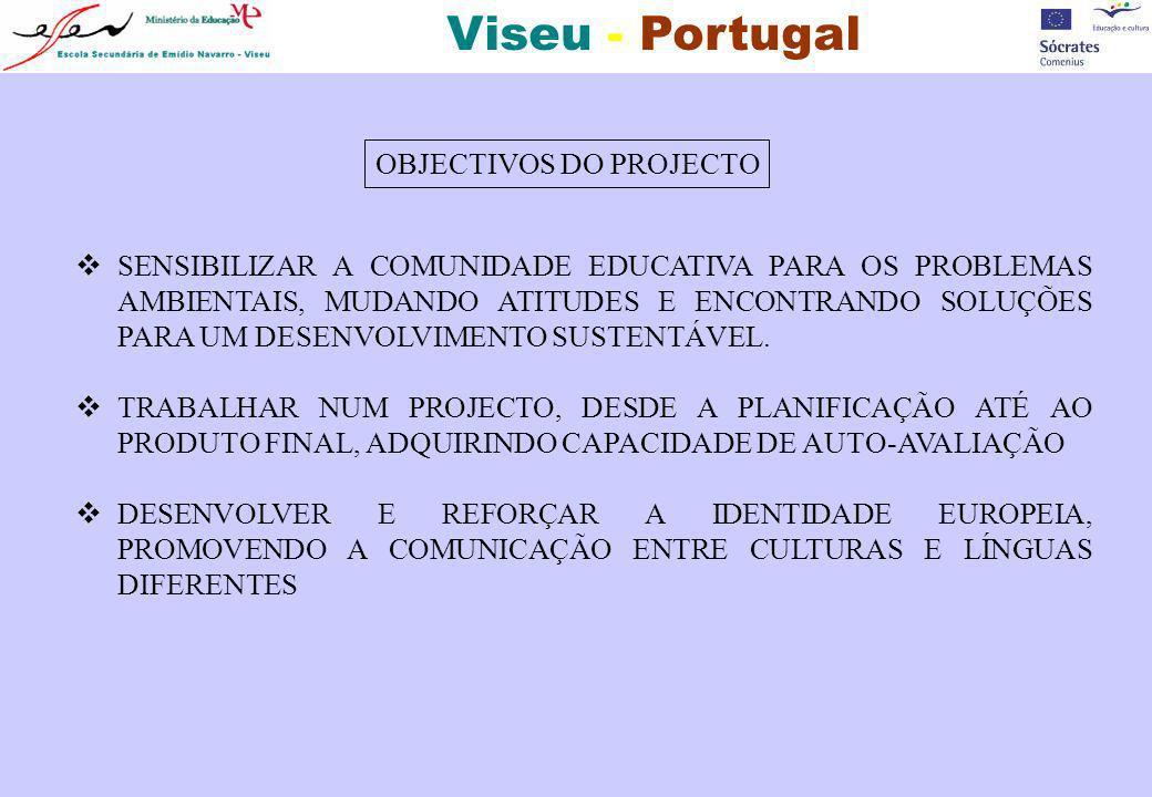 Viseu - Portugal OBJECTIVOS DO PROJECTO SENSIBILIZAR A COMUNIDADE EDUCATIVA PARA OS PROBLEMAS AMBIENTAIS, MUDANDO ATITUDES E ENCONTRANDO SOLUÇÕES PARA