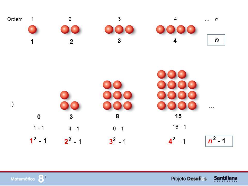 i) 0 3 8 15 n - 1 1 - 1 2 2 2 - 1 2 4 - 1 3 - 1 2 9 - 1 4 - 1 2 16 - 1 … 1 2 3 4 Ordem 1 2 3 4 … n … n