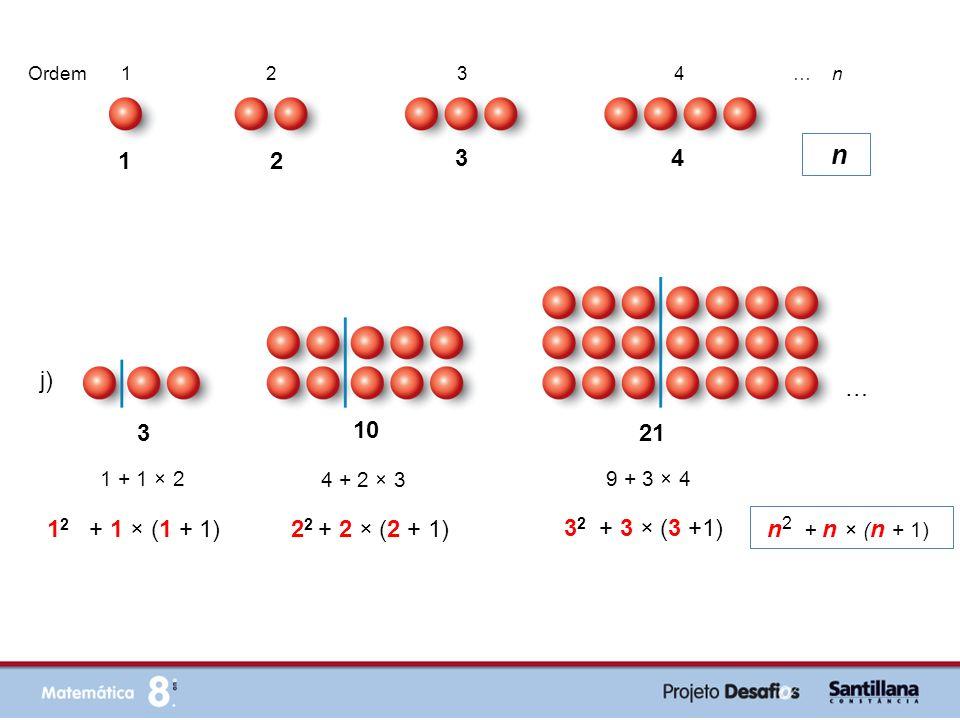 j) 3 10 21 1 2 + 1 × (1 + 1) 1 + 1 × 2 4 + 2 × 3 9 + 3 × 4 2 2 + 2 × (2 + 1) 3 2 + 3 × (3 +1) n 2 + n × ( n + 1) … … 1 2 3 4 Ordem 1 2 3 4 … n n