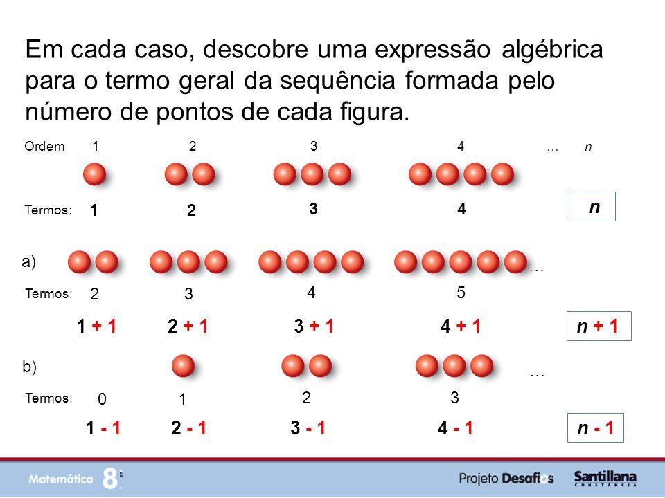 Em cada caso, descobre uma expressão algébrica para o termo geral da sequência formada pelo número de pontos de cada figura. 1 2 3 4 n Ordem 1 2 3 4 …