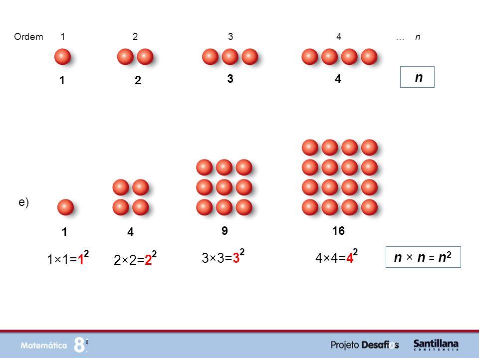 f) … 4 9 16 25 2 = ( 1 +1) 2 2 3 = ( 2 +1) 2 2 4 = ( 3 +1) 2 2 5 = ( 4 +1) 2 2 ( n + 1) 2 … 1 2 3 4 Ordem 1 2 3 4 … n n