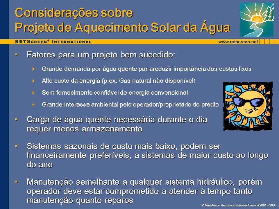 © Ministro de Recursos Naturais Canada 2001 – 2006. Considerações sobre Projeto de Aquecimento Solar da Água Fatores para um projeto bem sucedido:Fato