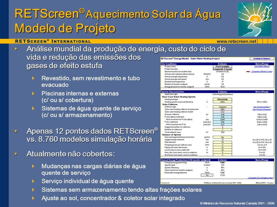 © Ministro de Recursos Naturais Canada 2001 – 2006. RETScreen ® Aquecimento Solar da Água Modelo de Projeto Análise mundial da produção de energia, cu