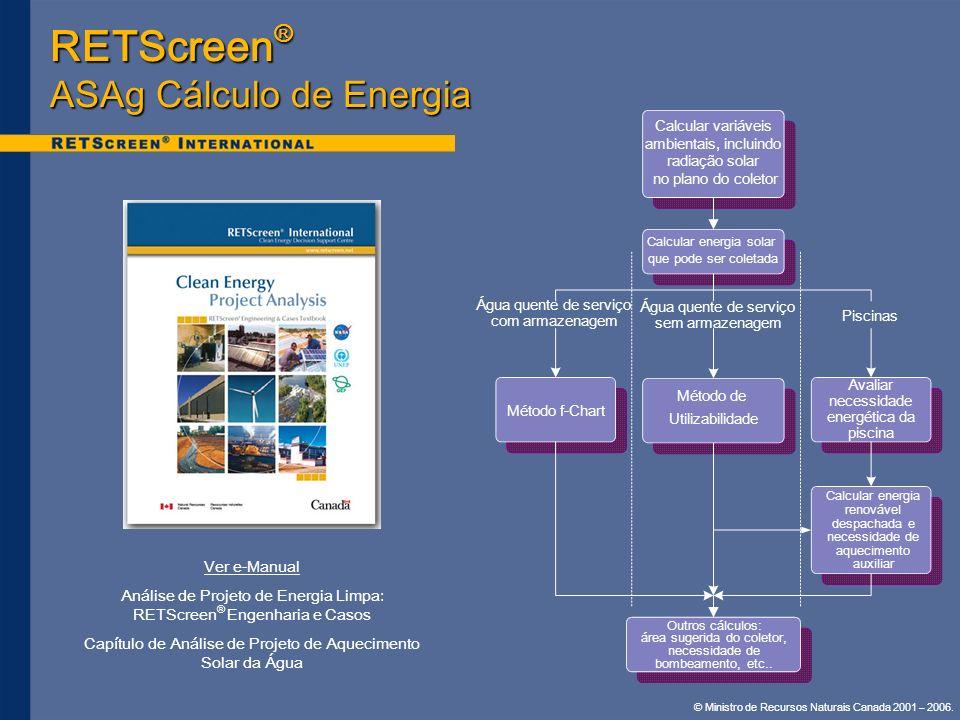 © Ministro de Recursos Naturais Canada 2001 – 2006. Ver e-Manual Análise de Projeto de Energia Limpa: RETScreen ® Engenharia e Casos Capítulo de Análi
