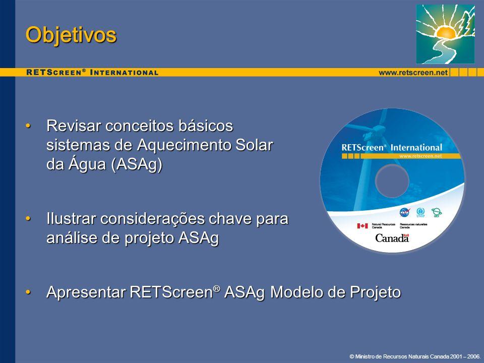 © Ministro de Recursos Naturais Canada 2001 – 2006. Objetivos Revisar conceitos básicos sistemas de Aquecimento Solar da Água (ASAg)Revisar conceitos