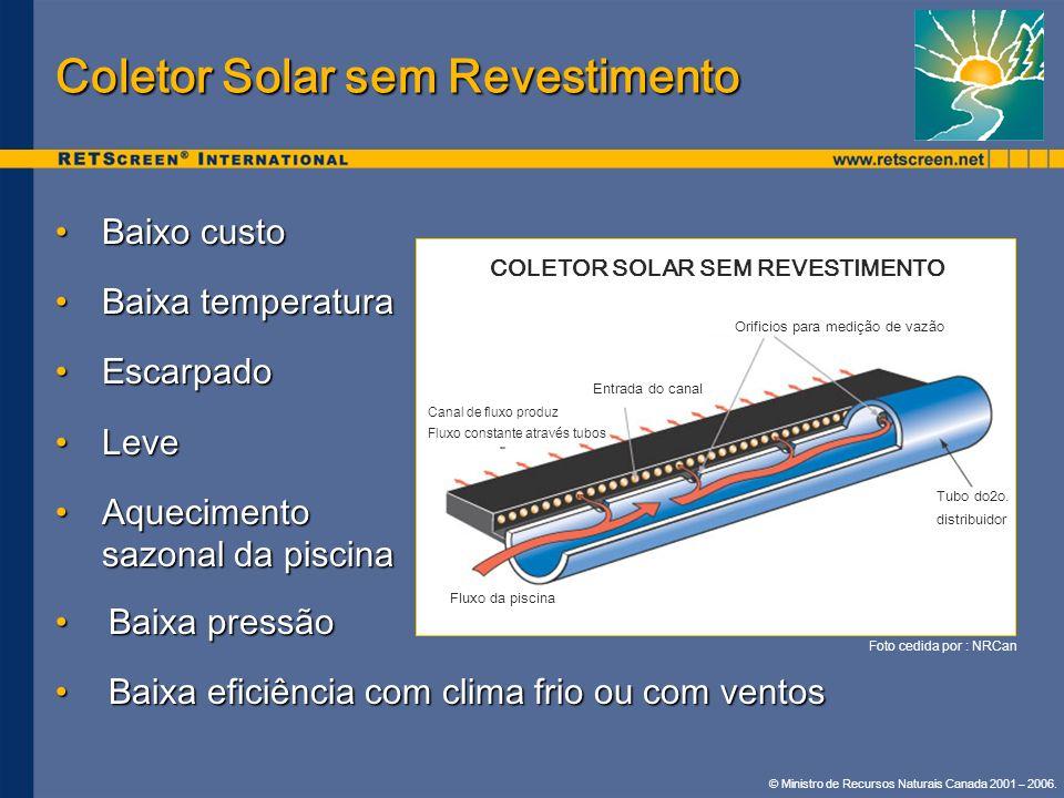 © Ministro de Recursos Naturais Canada 2001 – 2006. Coletor Solar sem Revestimento Baixo custoBaixo custo Baixa temperaturaBaixa temperatura Escarpado