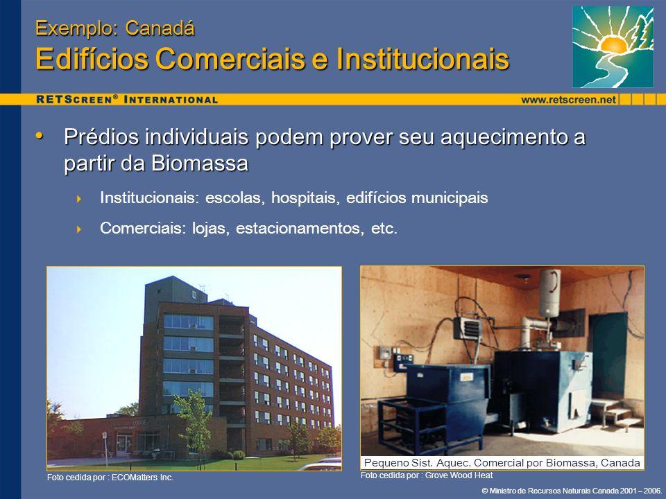 © Ministro de Recursos Naturais Canada 2001 – 2006. Exemplo: Canadá Edifícios Comerciais e Institucionais Prédios individuais podem prover seu aquecim