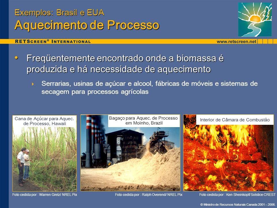 © Ministro de Recursos Naturais Canada 2001 – 2006. Exemplos: Brasil e EUA Aquecimento de Processo Freqüentemente encontrado onde a biomassa é produzi