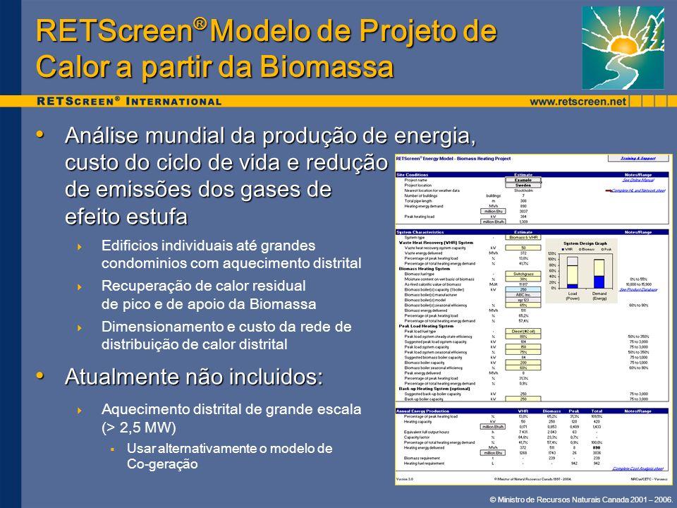 © Ministro de Recursos Naturais Canada 2001 – 2006. RETScreen ® Modelo de Projeto de Calor a partir da Biomassa Análise mundial da produção de energia