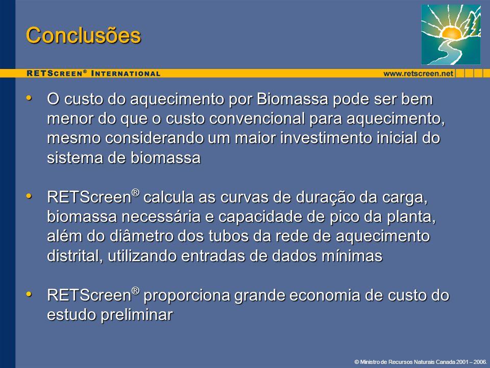 © Ministro de Recursos Naturais Canada 2001 – 2006. Conclusões O custo do aquecimento por Biomassa pode ser bem menor do que o custo convencional para
