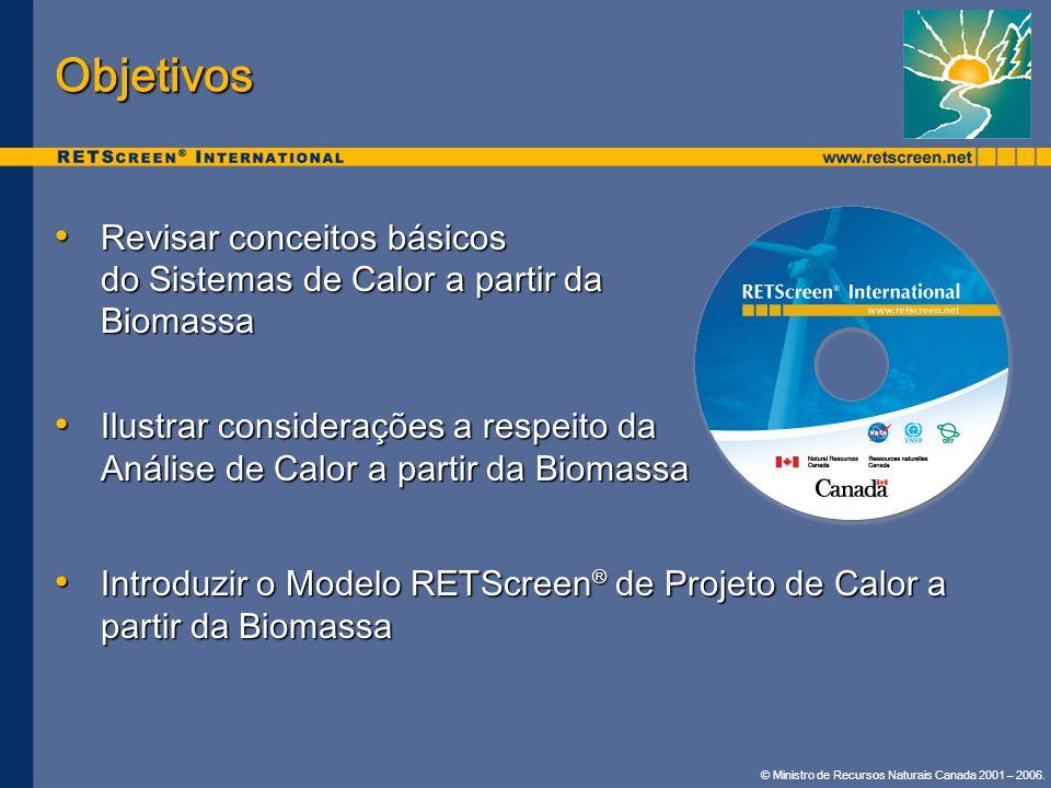 © Ministro de Recursos Naturais Canada 2001 – 2006. Objetivos Revisar conceitos básicos do Sistemas de Calor a partir da Biomassa Revisar conceitos bá