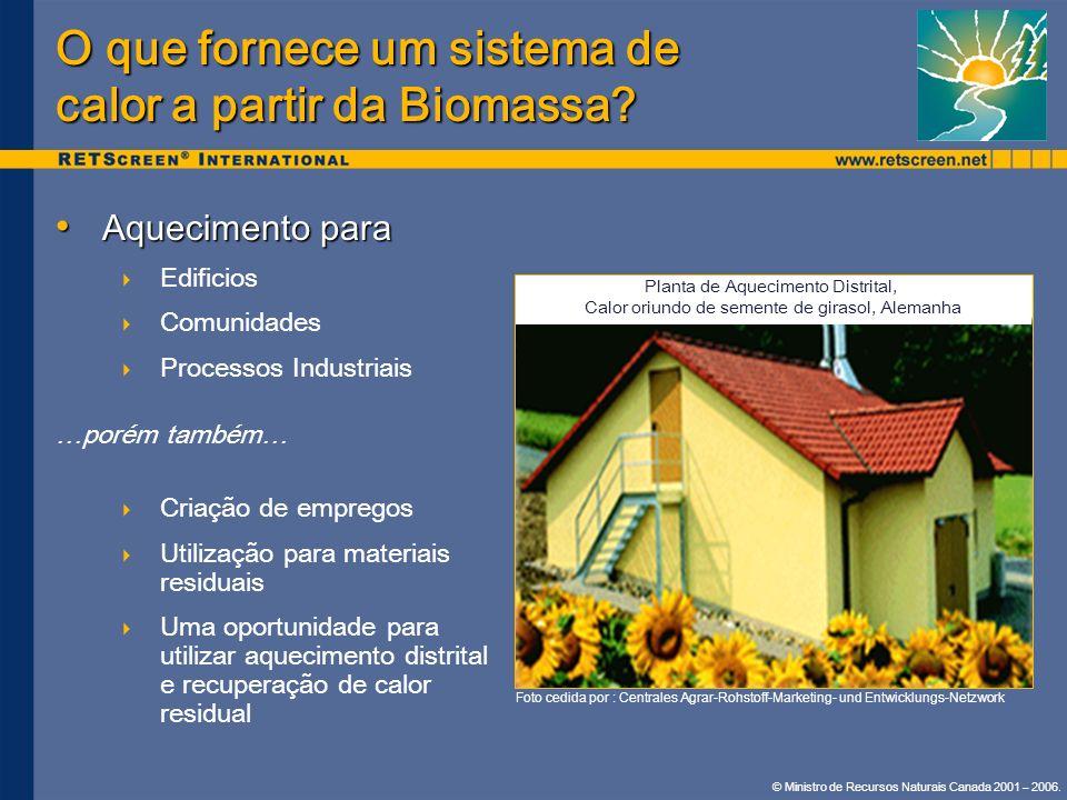 © Ministro de Recursos Naturais Canada 2001 – 2006. Aquecimento para Aquecimento para Edificios Comunidades Processos Industriais …porém também… Criaç