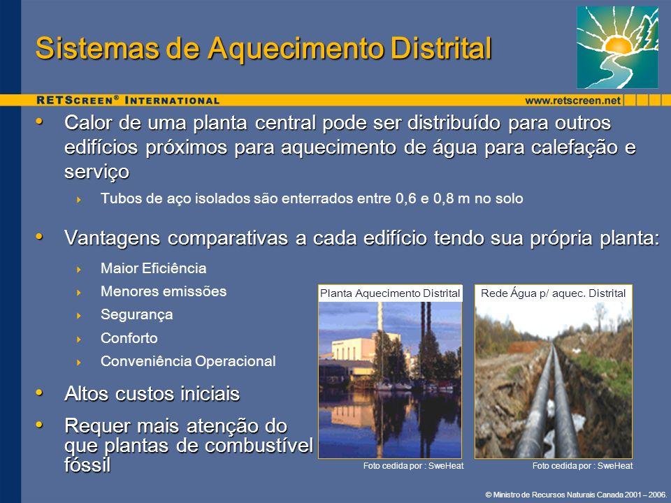 © Ministro de Recursos Naturais Canada 2001 – 2006. Sistemas de Aquecimento Distrital Calor de uma planta central pode ser distribuído para outros edi