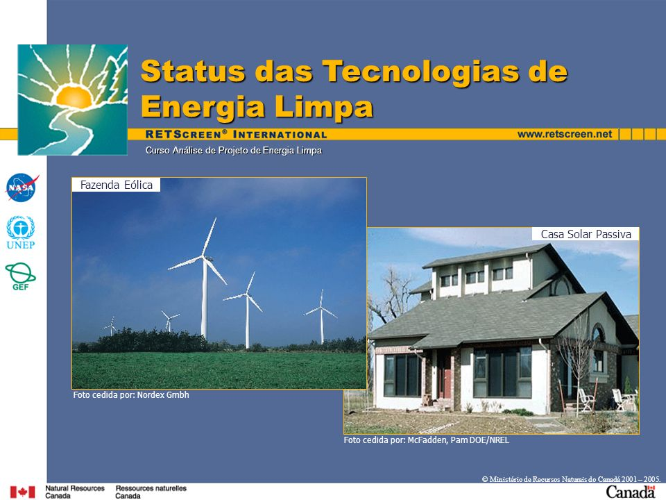 Curso Análise de Projeto de Energia Limpa Status das Tecnologias de Energia Limpa Casa Solar Passiva Fazenda Eólica Foto cedida por: Nordex Gmbh Foto