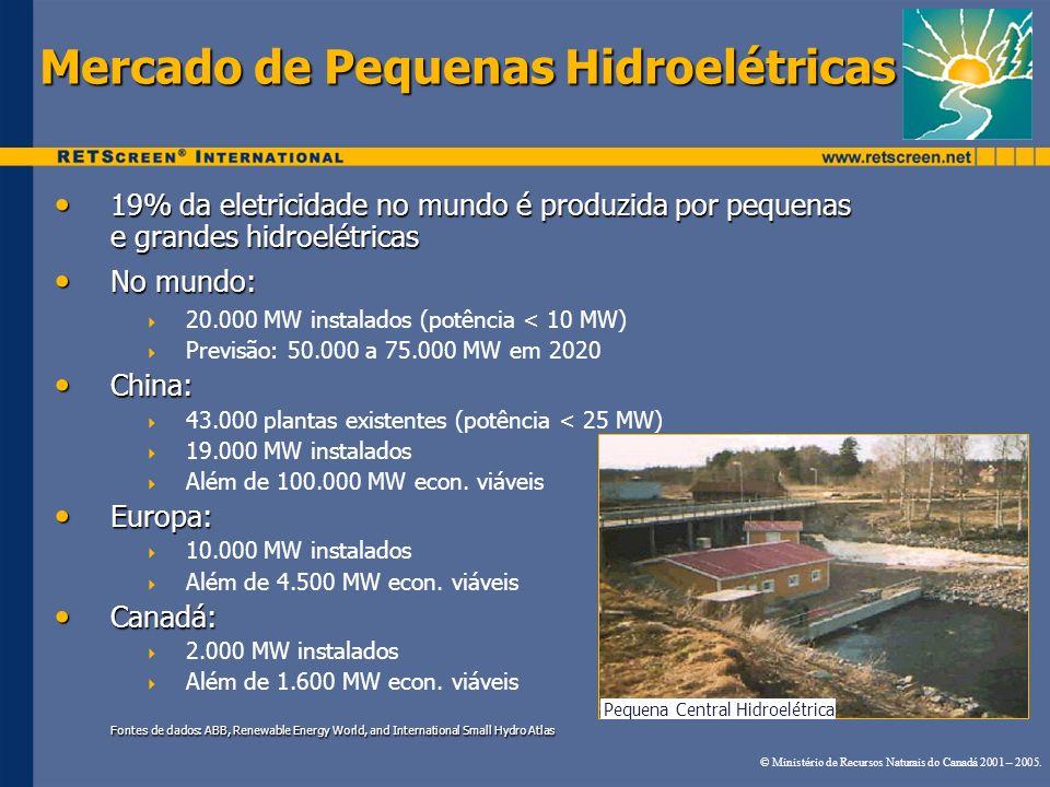 Mercado de Pequenas Hidroelétricas 19% da eletricidade no mundo é produzida por pequenas e grandes hidroelétricas 19% da eletricidade no mundo é produ