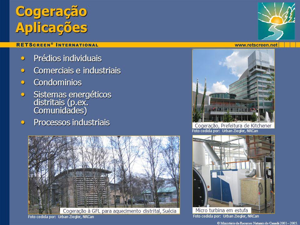 Cogeração Aplicações Prédios individuais Prédios individuais Comerciais e industriais Comerciais e industriais Condominios Condominios Sistemas energé