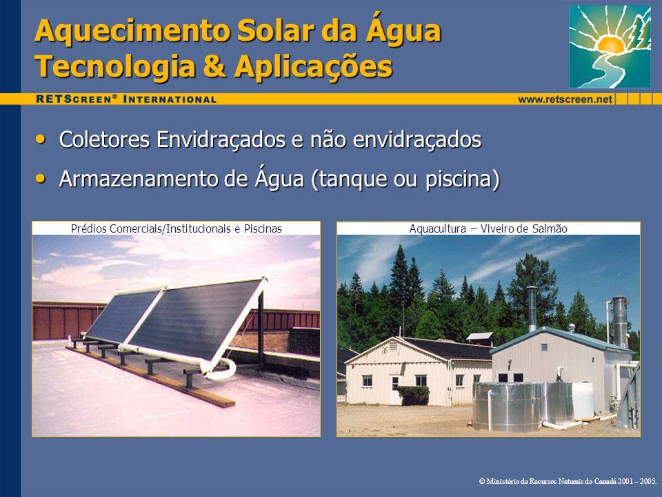 Aquecimento Solar da Água Tecnologia & Aplicações Coletores Envidraçados e não envidraçados Coletores Envidraçados e não envidraçados Armazenamento de