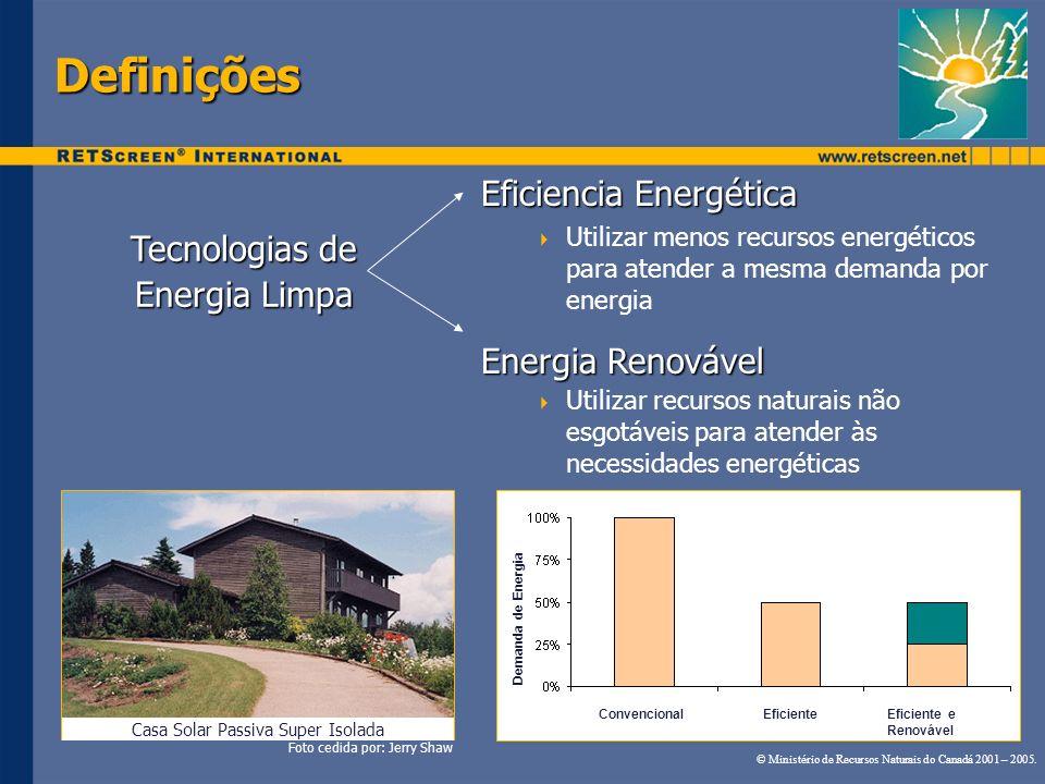 Definições Eficiencia Energética Utilizar menos recursos energéticos para atender a mesma demanda por energia Energia Renovável Utilizar recursos natu