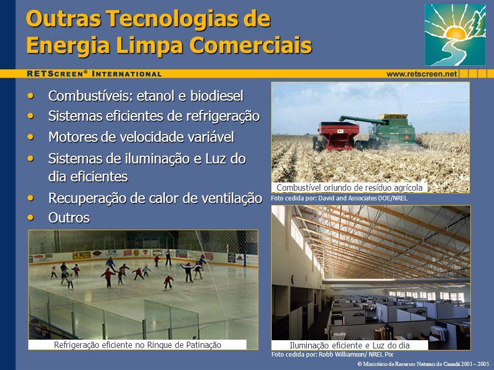 Outras Tecnologias de Energia Limpa Comerciais Combustíveis: etanol e biodiesel Combustíveis: etanol e biodiesel Sistemas eficientes de refrigeração S