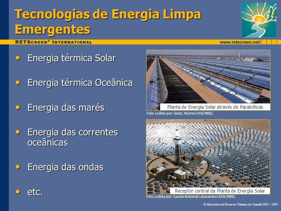 Tecnologias de Energia Limpa Emergentes Energia térmica Solar Energia térmica Solar Energia térmica Oceânica Energia térmica Oceânica Energia das maré