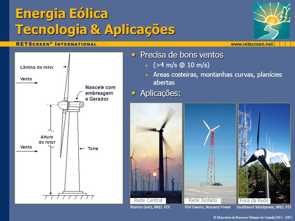 Energia Eólica Tecnologia & Aplicações Precisa de bons ventos Precisa de bons ventos (>4 m/s @ 10 m/s) Areas costeiras, montanhas curvas, planícies ab