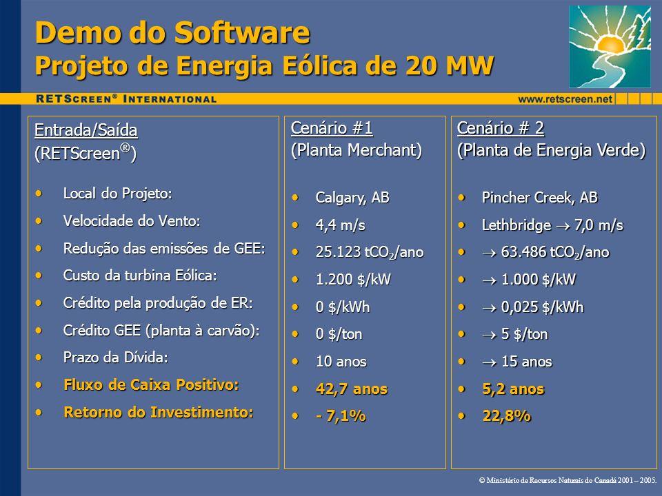 Demo do Software Projeto de Energia Eólica de 20 MW Entrada/Saída (RETScreen ® ) Local do Projeto: Local do Projeto: Velocidade do Vento: Velocidade d