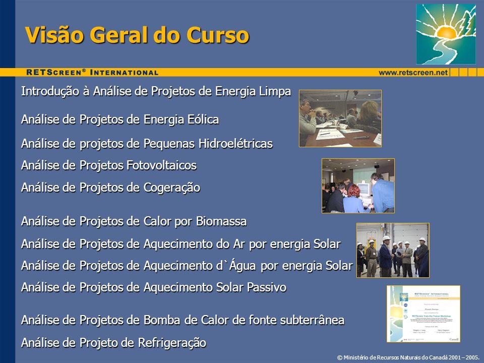 Baixar Grátis em: www.retscreen.net Materiais do Curso © Ministério de Recursos Naturais do Canadá 2001 – 2005.