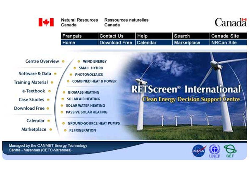 Modelos de Tecnologias de Energia Limpa Modelos de Tecnologias de Energia Limpa Dados de Produtos Internacionais 1.000 Fornecedores de Equipmentos Dados de Produtos Internacionais 1.000 Fornecedores de Equipmentos Dados climáticos Internacionais Dados climáticos Internacionais 1.000 estações de monitoramento terrestre Conjunto de dados meteorológicos e de energia solar fornecidos por Satélites da NASA Manual do Usuário Online Manual do Usuário Online RETScreen ® International Software de Análise de Projetos de Energia Limpa Software & Dados © Ministério de Recursos Naturais do Canadá 2001 – 2005.