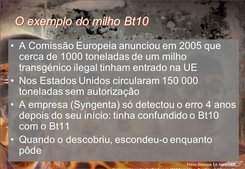 O exemplo do milho Bt10 A Comissão Europeia anunciou em 2005 que cerca de 1000 toneladas de um milho transgénico ilegal tinham entrado na UE Nos Estad