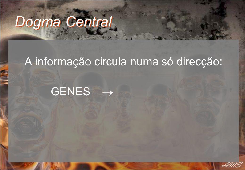 Dogma Central A informação circula numa só direcção: GENES